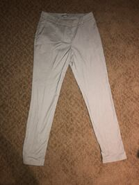 White and gray work pants with small checkered print, size 6 from H&M.
