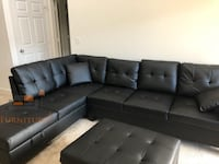 Brand new black faux leather sectional sofa with with ottoman  Silver Spring, 20902