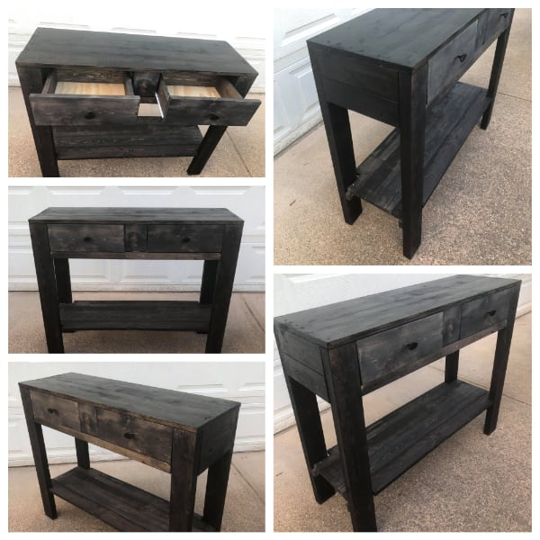 Rustic Ebony Hallway Table NEW