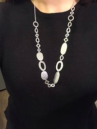 Textured Long Silver Necklace  New York, 11216