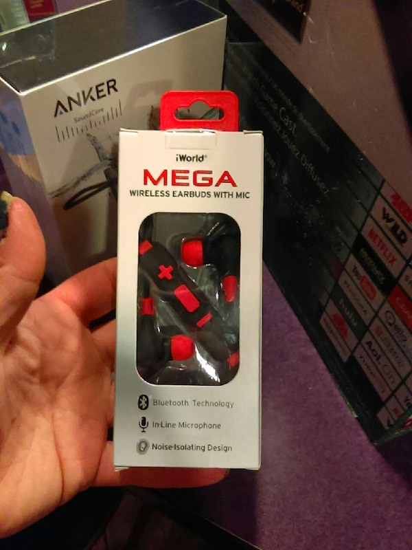 b0e56a48341 Used black and red iworld mega wireless earbuds with mic in box for ...