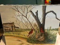 Two red cardinals and white birds on brown wooden bucket next to a tree near house painting Laurel, 20707