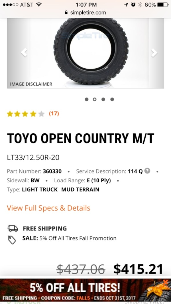 Used 4 Toyo Open County M T 33x12 5x20 Tires 60 Off For Sale