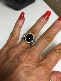 REDUCED‼ LADIES STERLING SILVER & BLACK ONYX ETCHING AROUND RING; SIZE 6!  Brand New! ONLY $20‼ Mardela Springs, 21837