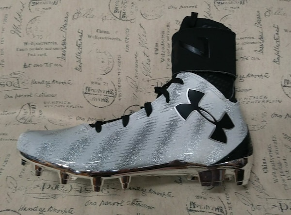 New UA Under Armour C1N Cam Newton MC Football Cleats Black Silver White Chrome