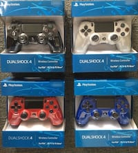 four assorted Sony PS4 controllers