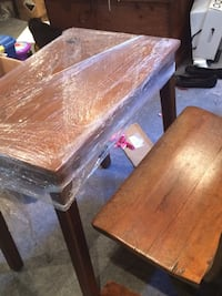 Antique school desk and folding bench Mississauga, L5N