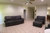 Brown Microfiber couch, loveseat, and ottoman
