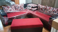 red ottoman chair