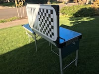New Outdoor Camp Table and Sink with board game. Original blue protector still in place   Tualatin, 97062