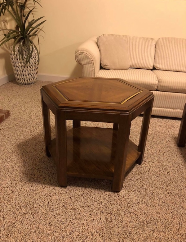 """""""3 Piece Family Room Table Set"""". $95 Solid wood. $95 for all three tables, cash only. Non-smoking and pet free home. Tables are located in finished basement. Tables will need to be moved by buyer.   * Palm tree in photo is also available for $5 (see detai 94710529-9268-4b8c-9138-06e0cc48fec4"""