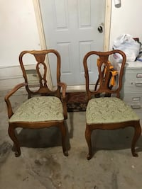 5 chairs, 2 arm chairs and 3 regular chairs for sale.