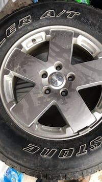 Gray 5-spoke car wheel with tire Mississauga