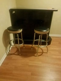 two black leather padded bar stools Oak Park, 60304