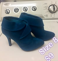 pair of size 8 blue suede round toe stiletto booties Eastvale, 92880