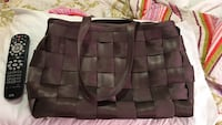 women's brown woven seatbelt purse.  Made by Harvey's.  New.