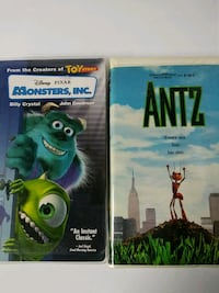 Monsters Inc. and Antz vhs tapes