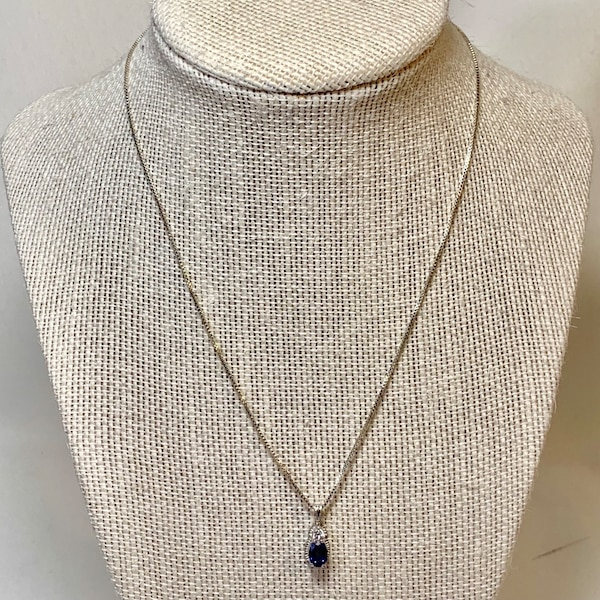 Sterling Silver & Sapphire Pendant with Sterling  Box Chain