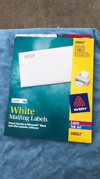 5  packets of white mailing labels  Yorba Linda, 92887