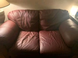 Red Leather Couch Set - Love Seat and 3 Seater