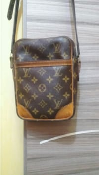 borsa a tracolla in pelle Louis Vuitton monogram marrone e nero