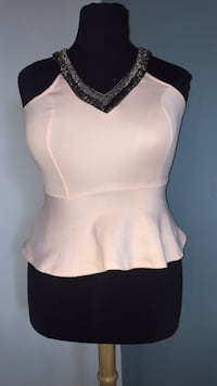 beaded off white peachy peplum top Springfield, 22150
