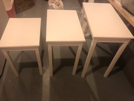 3 side tables white
