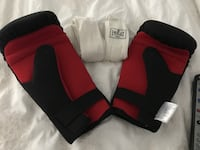 black-and-red leather training gloves