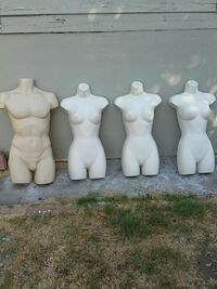 Mannequins with hooks. 3 women and 1 man
