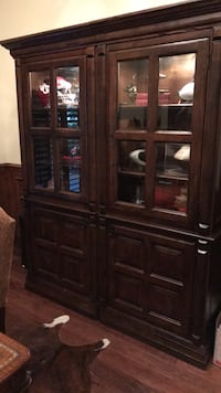 brown wooden framed glass display cabinet Fort Worth, 76132