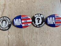 Four Brand New 1960s & 1970s MIA Buttons Fair Lawn, 07410