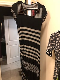 black and white striped scoop-neck dress Waldorf, 20602