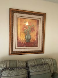framed painting of flowers, loveseat,leather comfy sofa,carpet. All $75 Plano, 75023