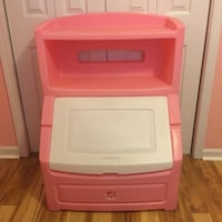 Like New Step 2 Pink Toy Box with Bookcase McDonough, 30253