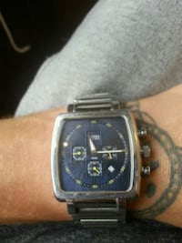 square silver chronograph watch with link bracelet London, N5W 4Y9