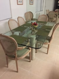 rectangular glass top table with four chairs dining set Plantation, 33317