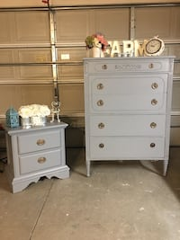 Gray wooden 5-drawer dresser and nightstand Rancho Cucamonga, 91739