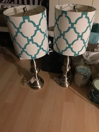 Two white and blue table lamps Mississauga, L5K 1Z3