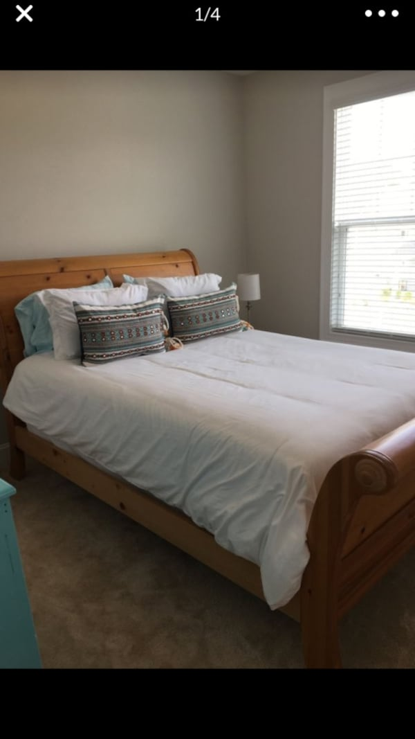 Sold Queen Sleigh Bed with Boxspring and Mattress in Apex ...