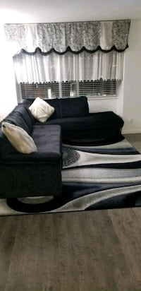 Fabric Sofa bed and rug