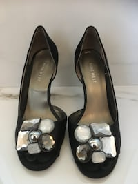 Shoes for sale from Nine West. Black satin with crystal embellishments. In excellent condition. Worn only a few times. Original price $110.00. Now only $30.00. Size 7 Vaughan, L4H 2V6