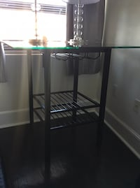 Black Tempered Glass Bar Table with Wine Shelf Norfolk, 23510