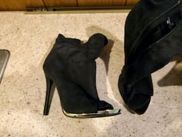 Gold tip open toe black booties size 10