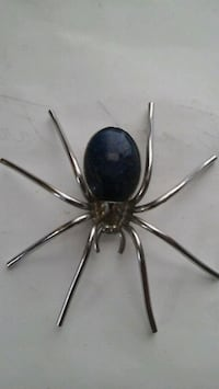 blue and silver-colored spider brooch