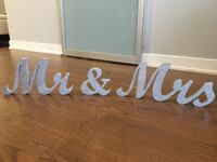Silver Glitter Mr and Mrs Sign Toronto, M8Y 0B6