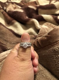 Silver-colored and diamodn ring 25.00 size 10
