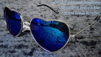 PAIR OF UV 400 (100% UV PROTECTION) SUNGLASSES WITH SILVER HEART FRAMES & BLUE MIRROR LENSES! Austin