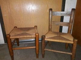 Wooden woven seat, childrens chair and rush seat