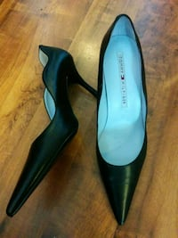 pair of black leather pointed toe heels Surrey