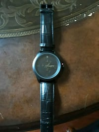 round black analog watch with black leather strap Mentor, 44060